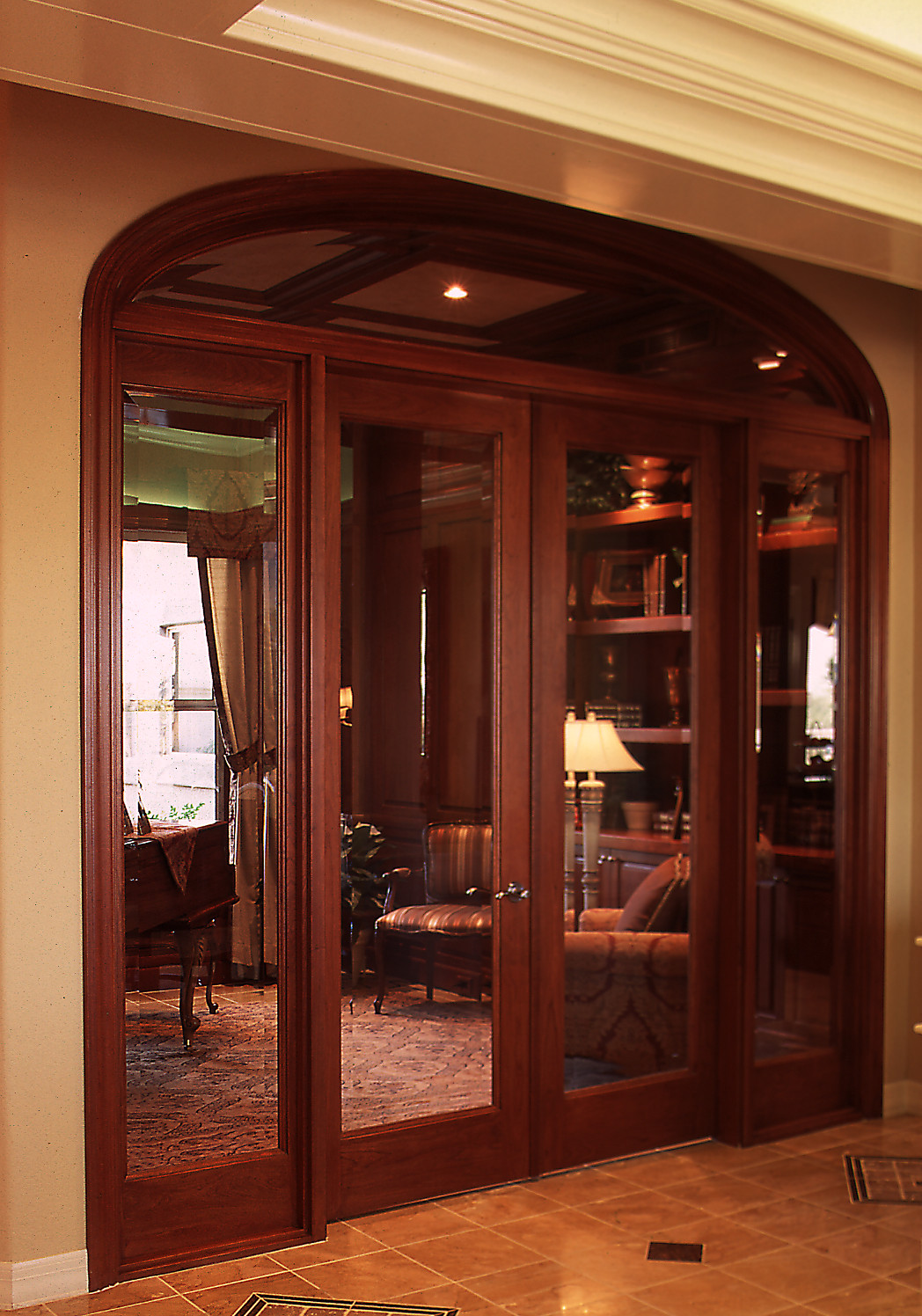 Customized 1-Lite French Door and Sidelights. Available in different wood species
